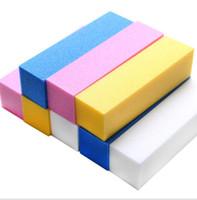 herramientas de lima de uñas al por mayor-Sponge Nail File beancurd cube Manicure Nail File Muela y recorte Herramienta de manicura Nail Tool Muela un pulido de manicura KKA5003
