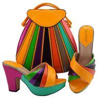 başak setleri toptan satış-MD008 Moda Tasarımı Spike Topuklu Turuncu Ayakkabı Ve Çanta Seti İtalyan Tarzı Düğün Için Pompalar 11.5 CM Ayakkabı Ve Eşleşen Çantası Set