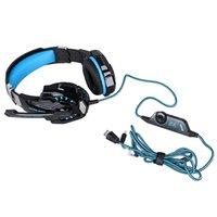 prise casque led achat en gros de-Nouveau Kotion pas cher Chaque G9000 Gaming Headset Headphone 3.5mm Stereo Jack avec Mic LED Light pour PS4 / Tablette / Ordinateur portable / Téléphone portable DHL