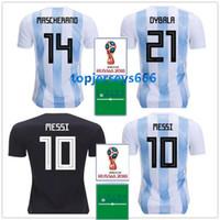 Argentina soccer jersey + patch 2018 World Cup MESSI DYBALA DI MARIA KUN  AGUERO HIGUAIN MASCHERANO Argentine football shirts 0f3509b5f