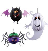 ingrosso lanterna di pipistrello-Hot Halloween 3D Bat Spider Fantasma Pendente Puntelli Festa dei bambini Cosplay Lanterna di carta Strumenti di decorazione Forniture festive