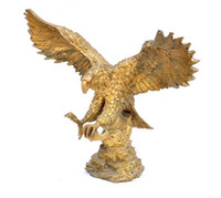 china estátua da águia venda por atacado-China Chinese Bronze Copper Riqueza Fly Eagle Estátua Na Escultura Ramo De árvore