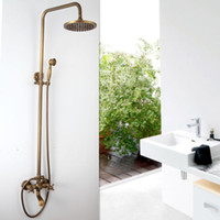 набор ливня ливня ливня роскошный оптовых-FreeShipping  NEW Antique Brass Rainfall Shower Set Faucet + Tub Mixer Tap + Handheld Shower Wall Mounted GZ-6005