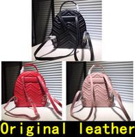 sırt çantası poşetleri gerçek deri toptan satış-Marmont Sırt Çantası Tasarımcı Sırt Çantası yüksek kaliteli Lüks Çanta Ünlü Markaların çanta Gerçek Orijinal Dana Hakiki Deri Lüks Sırt Çantası