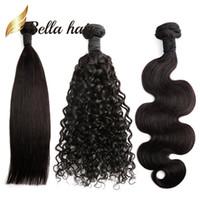 бразильские пучки волос для плетения оптовых-Бразильские пучки волос естественный цвет прямой волны тела глубокие вьющиеся 100 человеческих волос расширения Julienchina Кос-донор Белла волос 1/2/3 / 4шт