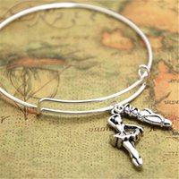 Wholesale ballerina dancers - 12pcs lot Ballerina bangles Ballet charm Dancer dance jewlery ballet charm adjustable bracelet