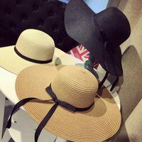 chapeaux boho achat en gros de-Chapeaux de grande taille Floppy Chapeaux Chapeau de paille pliable Boho Chapeaux à bord large Chapeau de plage d'été pour Lady Caps de protection solaire extérieure