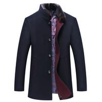 Wholesale thin fur vest - New Thick Warm Plus Size Overcoat Men Winter Slim Fit Natural Fur Collar Winter Jacket Men Wool