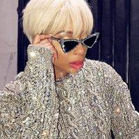 schwarze katze auge sonnenbrille europa großhandel-Europa und amerika mode dreieck sonnenbrille frauen marke luxus cat eye sunglass damen schwarz farbe rahmen kristall sonnenbrille