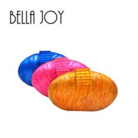 Wholesale brand bella - BELLA JOY Newest Acrylic Women oval Clutch Bag Chain Luxury Brand Women Messenger Bags Evening Bag Handbag Chain Shoulder Bags