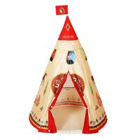 Wholesale indian tents resale online - Play House Indoor Natural Indian Pattern Unisex Children Toy Tent Cloth Teepees Safety Portable Indoor Camping Game Playhouse