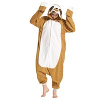 Wholesale Men Cotton Pyjamas - L G New Adult Unisex Winter Animal Sloth Pajamas Onesies Cosplay Costumes Homewear Pyjamas