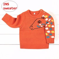 camisas naranjas para niñas al por mayor-Diseño de caballo infantil Suéteres Baby Boys Girls tops de punto Kids Gray Orange New Year Pullover shirt