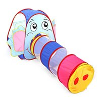 Wholesale children game house for sale - Portable Kids Toy Tent Foldable Outdoor Indoor Cartoon Elephant Tent Children Playhouse Play Game House Cubby Hut Sport Tents