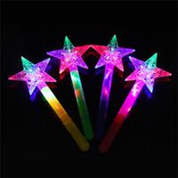 asas claras venda por atacado-Vara de fadas mágicas crianças kid toy led brinquedos mix cor levou rave lua estrelas varinha princesa crown iluminado 2 3zp v