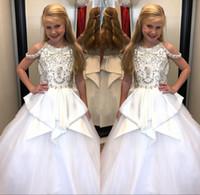 elbise mücevherleri için kayış toptan satış-2018 Zarif Boncuklu Kristaller Kızlar Pageant elbise Jewel Boyun Sapanlar Peplum Çocuklar Örgün Törenlerinde ile Parti Doğum Günü Elbise