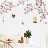 cage à oiseaux achat en gros de-Oiseaux qui volent parmi les fleurs Arbre Branches Stickers Muraux Salon Chambre Fond Décor Murale Murale Affiche Art Birdcage Wall Decals