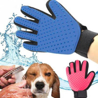 Wholesale Combing Brush - 2 Colors Pet Cleaning Brush Dog Comb Silicone Glove Bath Mitt Pet Dog Cat Massage Hair Removal Grooming Deshedding Gloves CCA9640 30pcs