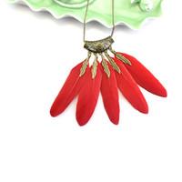 Wholesale vintage lady necklaces online - New Feathers Necklace Women Fashion Bohemia manual Weave Retro Pendant Lady Vintage Multi Layer Sequins Sweater Chain qx Ww