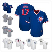 Wholesale kris bryant - 2018 custom Men's Women Youth Majestic Cubs Jersey #17 Kris Bryant Home Blue Gery white Champions Kids Baseball Jerseys