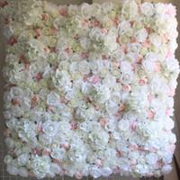 centros de bolas de flores grandes al por mayor-40X60 cm Flor de Seda Artificial Panel de Pared Flores Blancas Hortensia Decoración de La Boda Del Banquete de Boda Decoración del contexto 12 unids / lote