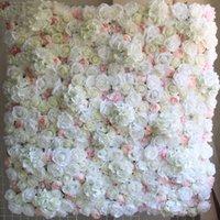 ingrosso fiori di parete bianchi-40x60cm decorazione floreale 12pcs / lot della decorazione della festa nuziale della decorazione di cerimonia nuziale del fiore di seta del pannello di parete del fiore di bianco di 40X60cm
