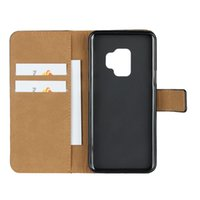 Wholesale genuine samsung phone holder online – custom Genuine Leather Wallet Case For Samsung S9 S8 A8 Note Credit Card Holder Stand Cover Wallet Flip Case Phone Cases