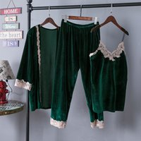 Wholesale Sexy Pjs - Fashion women's sleepwear winter velvet kimono gown pjs vest pants robe three piece pajamas sets luxury night dress free shipping S106