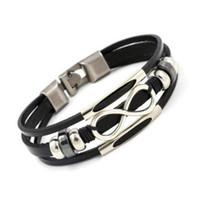 браслет бесконечности моды оптовых-Натуральная кожа бесконечность браслет 8 Wrap браслеты браслет манжеты для женщин мужчины ювелирные изделия Рождественский подарок