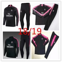 Wholesale tracking shoe - adult soccer match paris 2018psg track and field suit 18 19 MBA shoes Lucas JR home football jacket Training KitSizeS-3XL