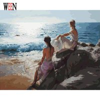 Wholesale Painting Oil Sea - WEEN Sea Girl Pictures By Numbers DIY Hand Painted Oil Painting By Numbers On Canvas Coloring For Living Room Digital Arts Decor