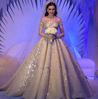 Wholesale Dubai Crystal Wedding - Luxurious Saudi Arabic Crystals Rhinestones Ball Gown Wedding Dresses Plus Size Dubai Off-Shoulder Beaded Chruch Bridal Wedding Gowns Custom