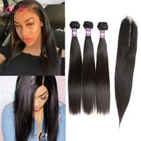 Wholesale cheapest extension hair weave online - Cheapest Straight A Brazilian Human Hair Bundles with Closure Unprocessed Wave Virgin Hair Bundles With Closure Human Extensions