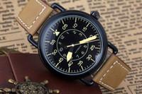 коричневый скелет кожаные часы оптовых-Оптовая продажа-мужские роскошные из нержавеющей стали автоматические часы коричневый кожаный ремешок Bell BR через скелет военные старинные наследия мужские часы