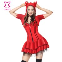 Wholesale carnival uniforms adults - Red Naughty Devil Halloween Costume Carnival Party Cosplay Demon Fantasy Dress Sexy Costumes For Adults Vampire Costume