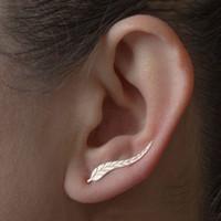 parafuso de orelha de ouro venda por atacado-Flash Deal Simples folhas Ear Clips Cuffs Brincos Para As Mulheres Jóias Asa Clipes de Orelha Envoltório Brincos de Prata Alpinista de Ouro