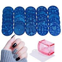 empreintes de clous achat en gros de-Outil à ongles STZ film bleu Impression de dessin coloré Modèle Haute qualité Impression à l'huile Huile Circulaire Tôle d'acier T4H0434