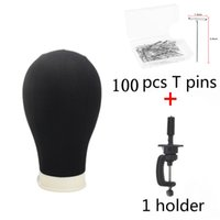 Wholesale extension hair stands online - Canvas Black Head Cork Wig Display Stand Fabric Covered Training Mannequin Head Making Cap Hair Extensions Style Mode