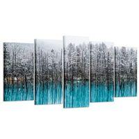 photos d'art mur noir achat en gros de-Bleu Forêt Toile Mur Art Peint À La Main Peinture À L'huile Hiver Paysages De Arbres Noirs Snow Photo Art pour La Maison et Bureau Décoration