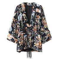 b4712782f1 Vintage Bow Tie Waist Rainfores Flower Print Kimono Shirt 2018 Woman Tassel  Belt Long Batwing sleeve Blouse