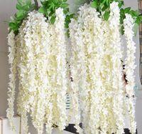 rote glyzinienseide großhandel-NEUE Silk Wisteria Vine 165cm Künstliche Hydrangea Wisterias Rattans Sakura für Hochzeits-Mittelstück weiß rot rosa lila grüne Farbe