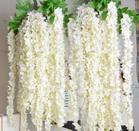 ingrosso viti di seta di glicine per il matrimonio-NOVITÀ Silk Wisteria Vine 165cm Artificiale Hydrangea Wisterias Rattans Sakura per Wedding Centrotavola bianco rosso rosa viola colore verde