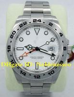 белый цвет часы мужчины оптовых-2 Цвет Topselling роскошные мужские часы 42 мм Explorer II 216570 из нержавеющей стали белый циферблат дата 42 мм автоматические мужские часы Азии 2813 механизм