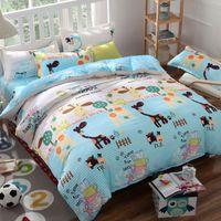 Wholesale giraffe sheets - 1Set Cartoon Creative Bed Sheets Duck Yellow Hot Fashion New Aloe Cotton Bedding Reactive Printing Giraffe Bedding Sets