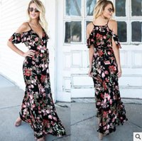 Wholesale long sleeve maxi dresses china - Summer fashion printing cool beautiful seaside resort beach forked long skirt dress popular in China and English