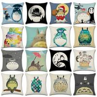 Wholesale Totoro Cushion Cover - Cartoon Totoro Series Throw Pillowcase Sofa Car Linen Pillow Case Waist Cushion Cover 45*45CM Home Cafe Office Decoration Gift for Friend