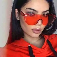 Wholesale pink sea glass - Fashion Oversized Cateye Sunglasses Women Rimlesss Transparent Brand Lady Female Sea Color Red Pink Yellow Sun Glasses desol 2018 10 COLOR
