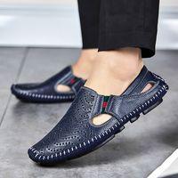 sandalias de los hombres coreanos al por mayor-Cow Split Leather Sandalias de los hombres impermeables Summer Flats Shoes Versión coreana Daily Pies respirables Lazy Casual Sandalias de cuero reales 5-12