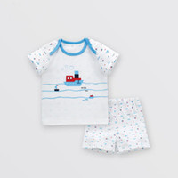 Wholesale two piece summer boys clothes resale online - Children s clothing new summer short sleeved baby cotton kids suit boys and girls t shirt baby two piece together