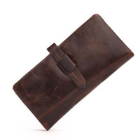 Wholesale dark brown clutch wallets online - New leather wallet for men Oil wax wallet Hot Sale Fashion Leather Wallets large capacity Vintage Credit Card Dark brown